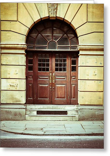 Sidewalks. Arches Greeting Cards - Double door Greeting Card by Tom Gowanlock