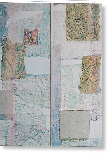 Double Doors Of Unfinished Projects In Blue  Greeting Card by Asha Carolyn Young