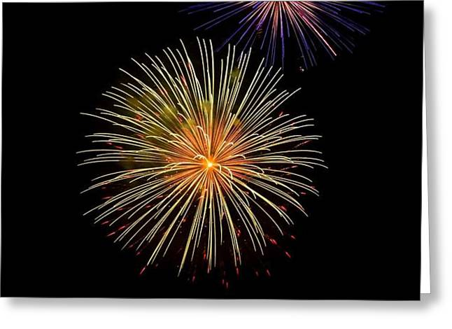 Double Firework Greeting Card by Alan Robinson