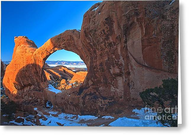 Double O Arch Greeting Cards - Double O Glow Greeting Card by Adam Jewell