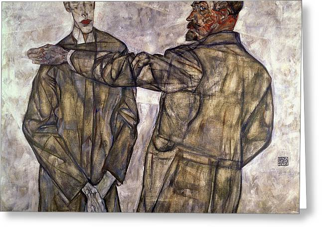 Distortion Paintings Greeting Cards - Double Portrait Of Otto And Heinrich Benesch Greeting Card by Celestial Images