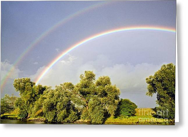 Double Rainbow Greeting Cards - Double rainbow Greeting Card by Howard Stapleton