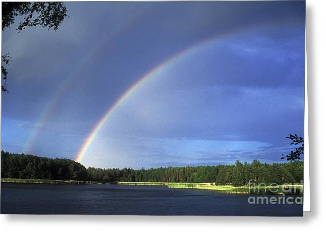 Double Rainbow Greeting Cards - Double Rainbow Over A Lake Greeting Card by Pekka Parviainen