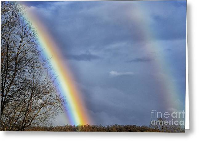 Double Rainbow Greeting Cards - Double Rainbow over Mountain Greeting Card by Thomas R Fletcher