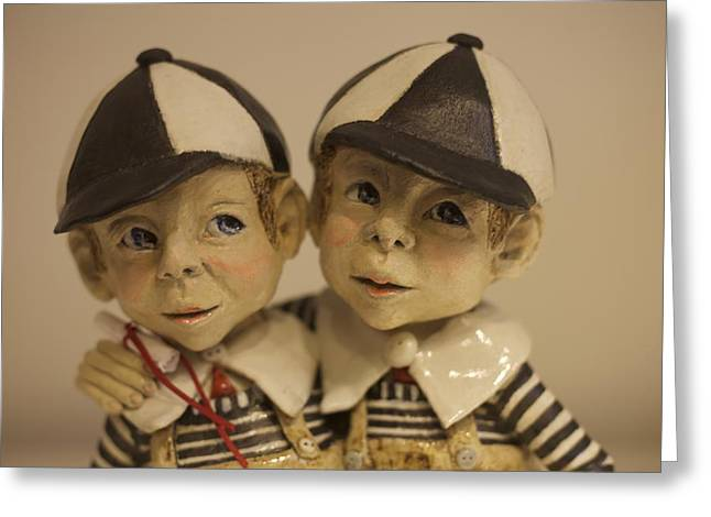 Whimsical. Ceramics Greeting Cards - Double Trouble Greeting Card by Dorienne Carmel