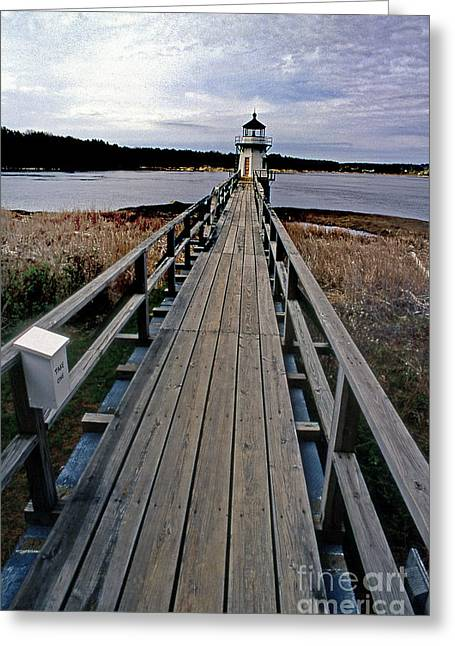 Maine Beach Greeting Cards - Doubling Point Lighthouse Greeting Card by Skip Willits