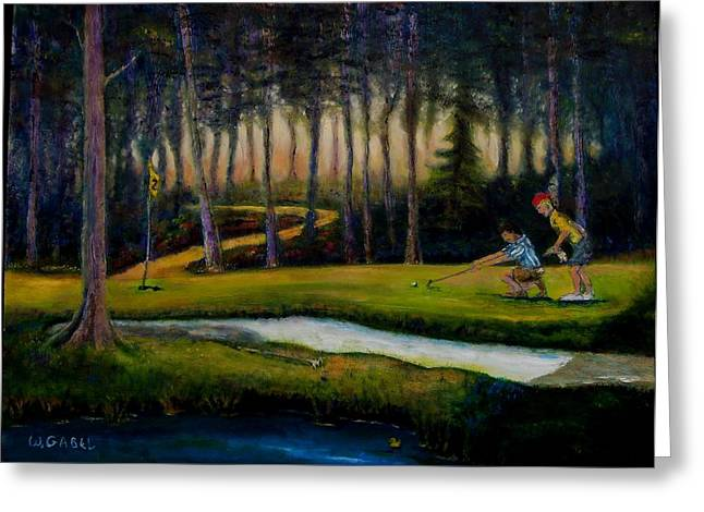Caddy Paintings Greeting Cards - Down Hill Greeting Card by William Gabel