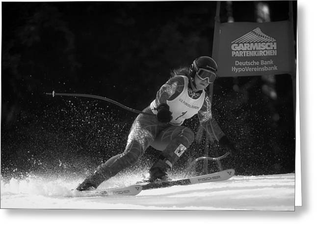 Female Athletics Greeting Cards - Downhill Competition Greeting Card by Mountain Dreams