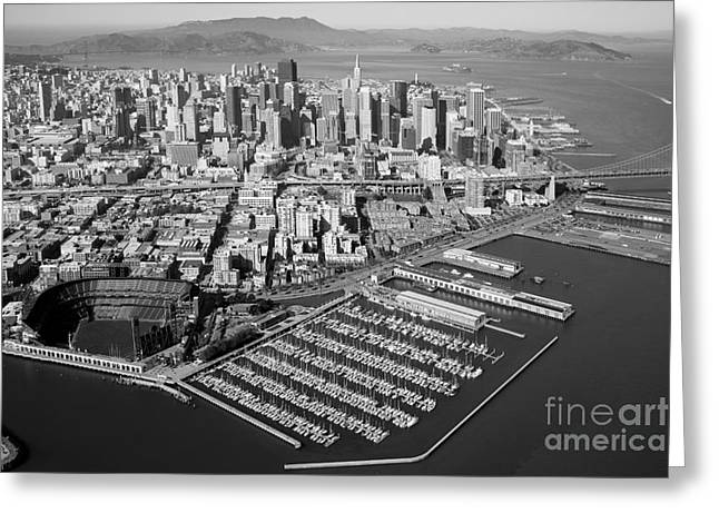 T Street Beach Greeting Cards - Downtown Aerial of the San Francisco California Skyline Greeting Card by Bill Cobb