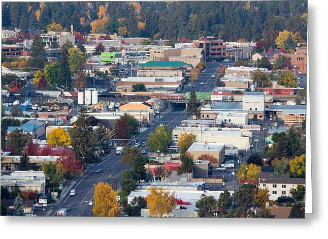 Mt Bachelor Greeting Cards - Downtown Bend oregon from Pilot Butte Greeting Card by Twenty Two North Photography