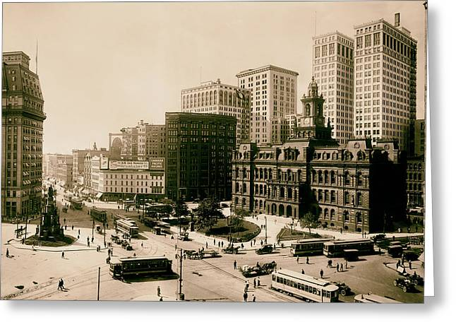 Rail Line Greeting Cards - Downtown Detroit 1915 Greeting Card by Mountain Dreams