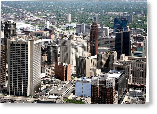 Griswold Greeting Cards - Downtown Detroit Michigan Greeting Card by Bill Cobb