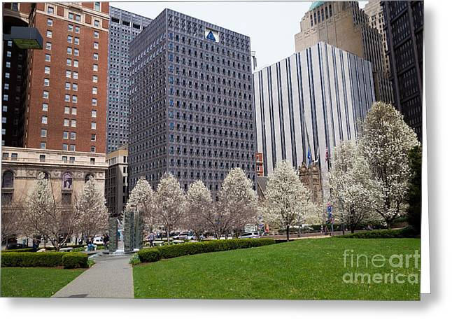 Alcoa Greeting Cards - Downtown Pittsburgh in the Spring Greeting Card by Amy Cicconi