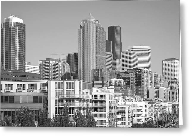 Alaskan Architecture Greeting Cards - Downtown Seattle Greeting Card by Bill Cobb