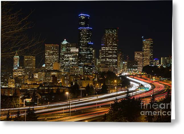 Downtown Seattle Washington Greeting Cards - Downtown Seattle Greeting Card by Eddie Yerkish
