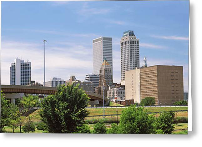 Tulsa Greeting Cards - Downtown Skyline From Centennial Park Greeting Card by Panoramic Images