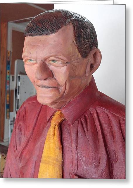 Wood Carving Sculptures Greeting Cards - Dr Woodman Greeting Card by Michael Pasko