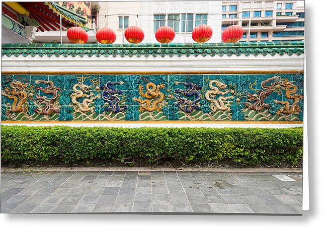 Chinese Lanterns Greeting Cards - Dragon Frieze Outside A Building Greeting Card by Panoramic Images