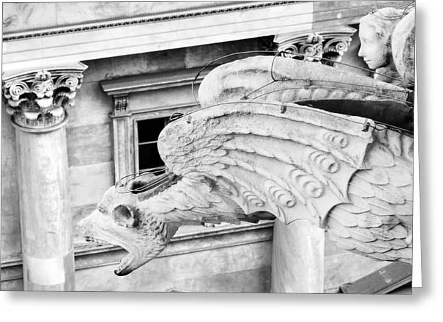 White Greeting Cards - Dragon Gargoyle I BW Duomo di Milano Italia Greeting Card by Sally Rockefeller
