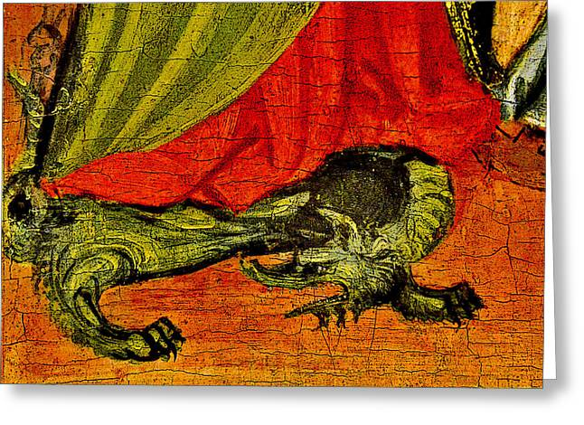 Altar Art Picture Greeting Cards - Dragon. National Gallery in Prague. Czech Republic. Greeting Card by Andy Za