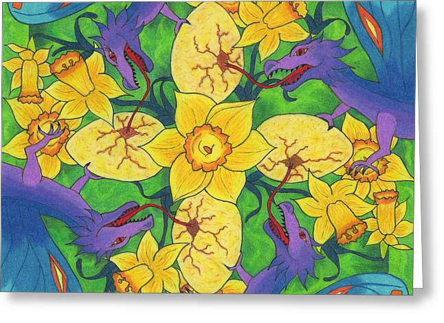 Renewing Drawings Greeting Cards - Dragondala Spring Greeting Card by Mary J Winters-Meyer