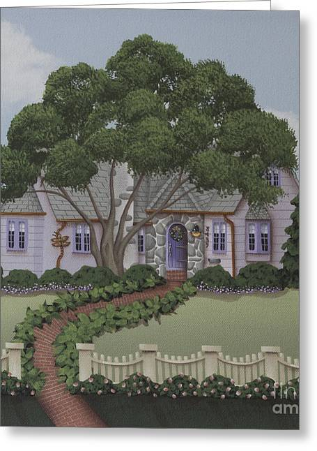 Country Cottage Greeting Cards - Dragonfly Cottage Greeting Card by Catherine Holman