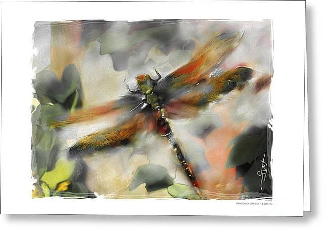 dragonfly garden Greeting Card by Bob Salo