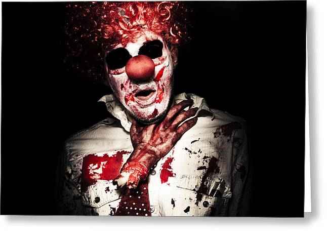 Choking Greeting Cards - Dramatic Sinister Clown Getting Strangled By Hand Greeting Card by Ryan Jorgensen