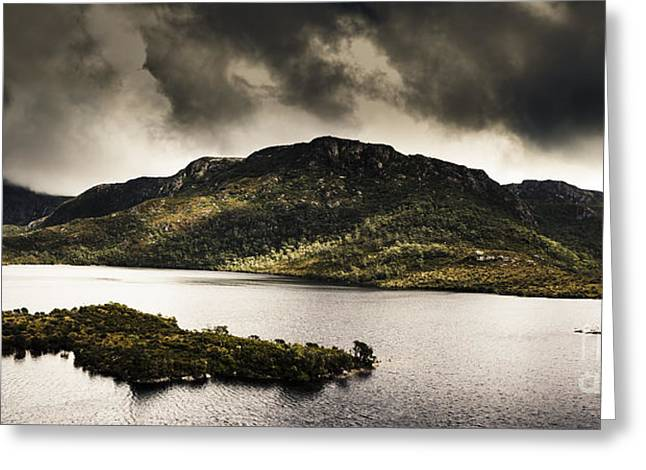 Cradle-mountain Greeting Cards - Dramatic Tasmania landscape of Cradle Mountain Greeting Card by Ryan Jorgensen