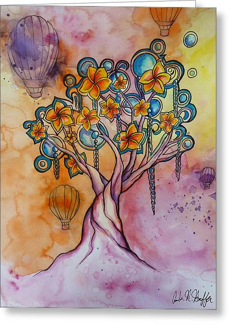 Balloon Flower Drawings Greeting Cards - Dream Tree  Greeting Card by Amber Hoeffer