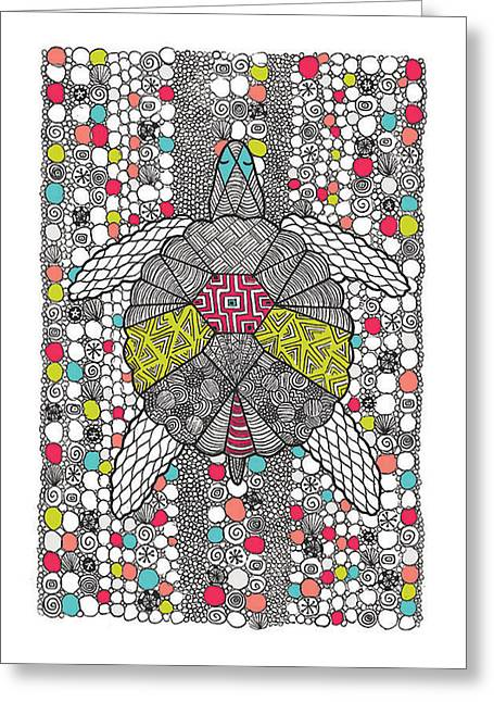 Coloured Greeting Cards - Dream Turtle Greeting Card by Susan Claire