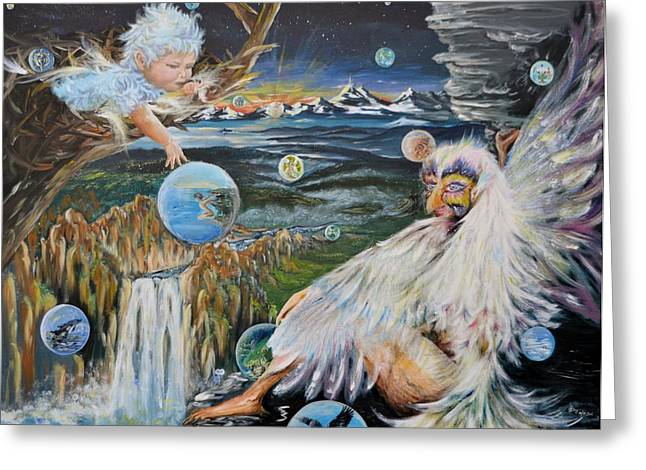 Merging Paintings Greeting Cards - Dreamers Dream Greeting Card by Katerina Naumenko