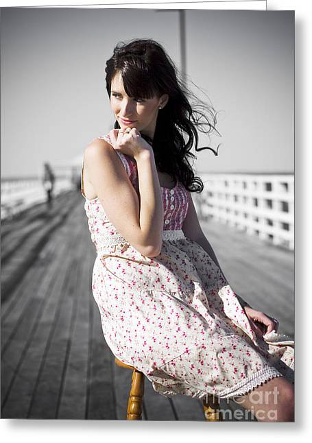 Dreaming Female Greeting Card by Jorgo Photography - Wall Art Gallery