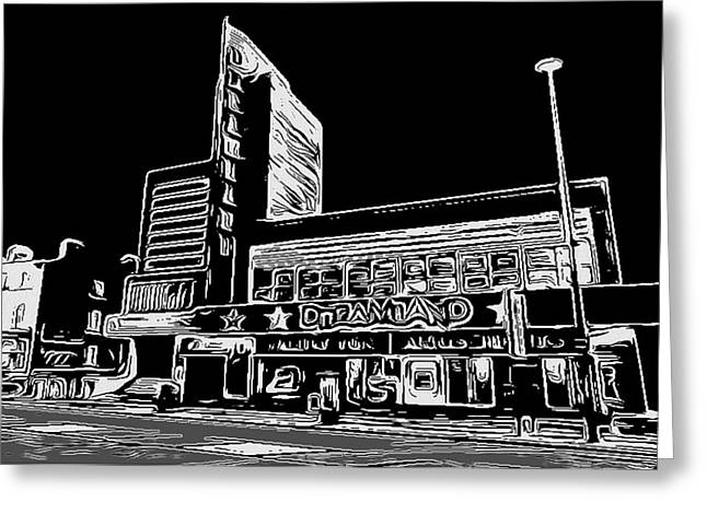 Lino Cut Greeting Cards - Dreamland Margate Greeting Card by Jeff Laurents
