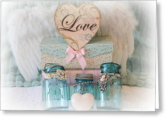 Kitchen Photographs Greeting Cards - Dreamy Shabby Chic Ball Jars - Vintage Aqua Teal Blue Ball Jars - Ball Jars Pink Valentine Heart Art Greeting Card by Kathy Fornal