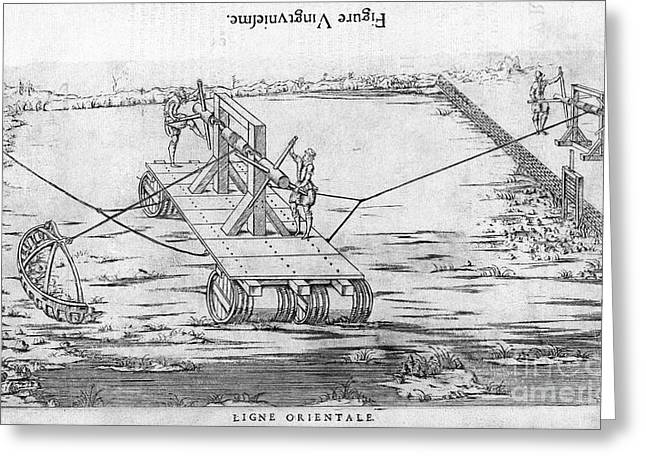 1596 Greeting Cards - Dredging Machine, 16th Century Artwork Greeting Card by Middle Temple Library