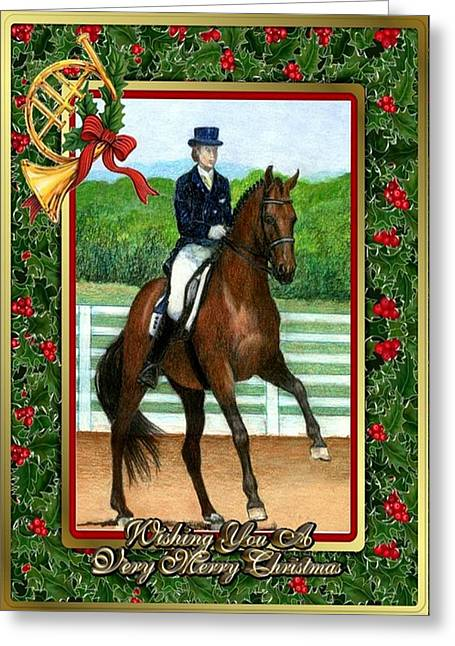 Dressage Drawings Greeting Cards - Dressage Horse Blank Christmas Card Greeting Card by Olde Time  Mercantile