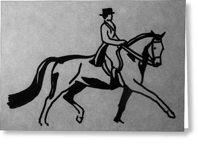 Dressage Drawings Greeting Cards - Dressage Greeting Card by Joann Renner