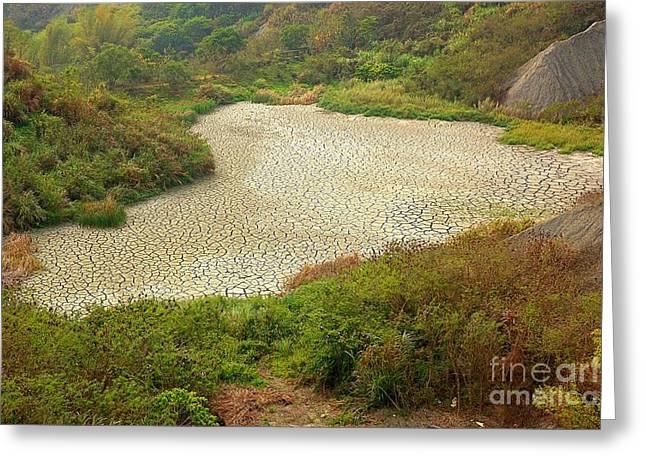 Dry Lake Greeting Cards - Dried Bottom of  a Lake Greeting Card by Yali Shi