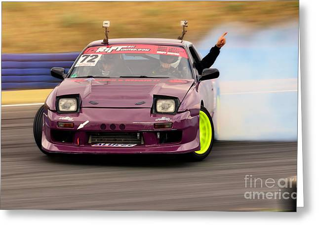 Jdm Greeting Cards - Drift - Hands Up Greeting Card by Martin Slotta