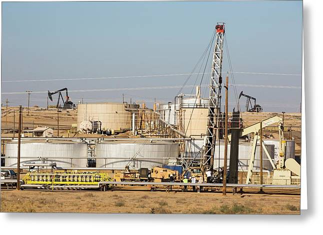 Drilling For Oil Greeting Card by Ashley Cooper