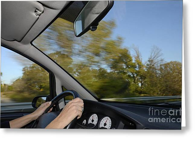 Women Only Greeting Cards - Driving a speeding car on highway Greeting Card by Sami Sarkis