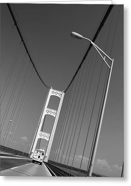 Great Architect Greeting Cards - Driving On The Mackinac Bridge Greeting Card by Dan Sproul