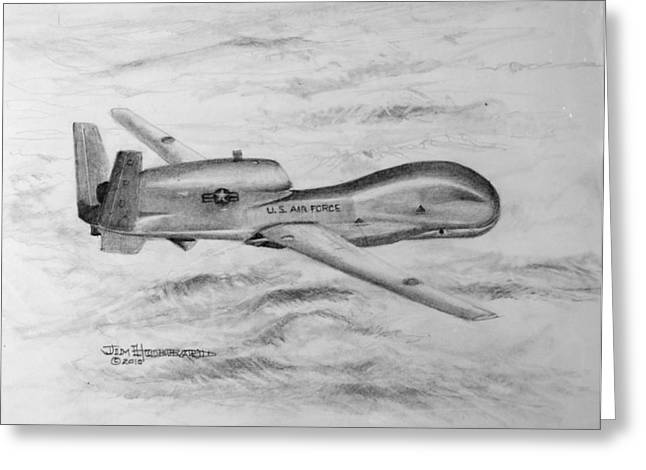 Jim Hubbard Greeting Cards - Drone RQ-4 Global Hawk Greeting Card by Jim Hubbard