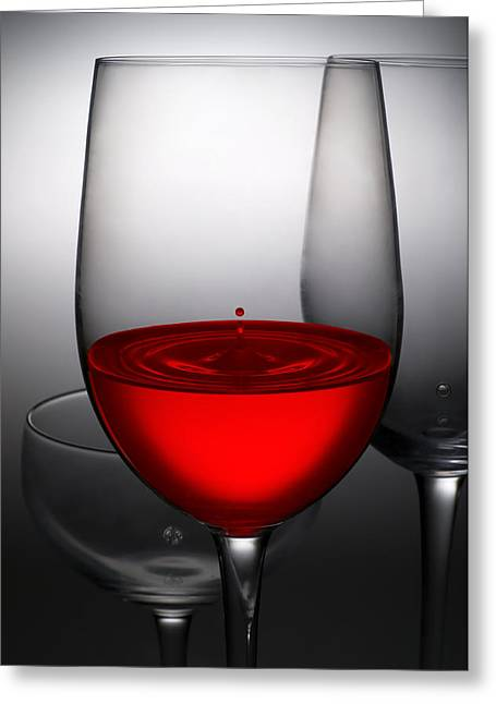 Champagne Glasses Greeting Cards - Drops Of Wine In Wine Glasses Greeting Card by Setsiri Silapasuwanchai