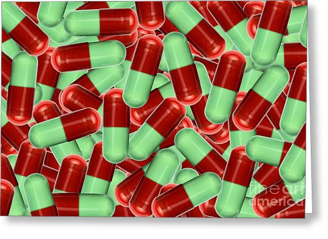 Capsule Greeting Cards - Drug Capsules, Artwork Greeting Card by Victor de Schwanberg