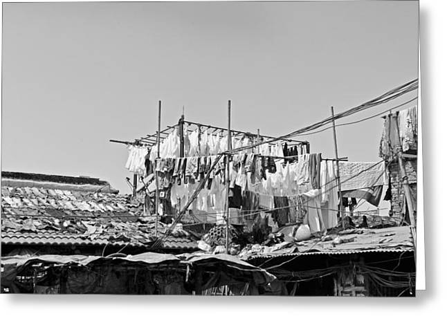 Squalid Greeting Cards - Drying clothes Indian Style Greeting Card by Kantilal Patel