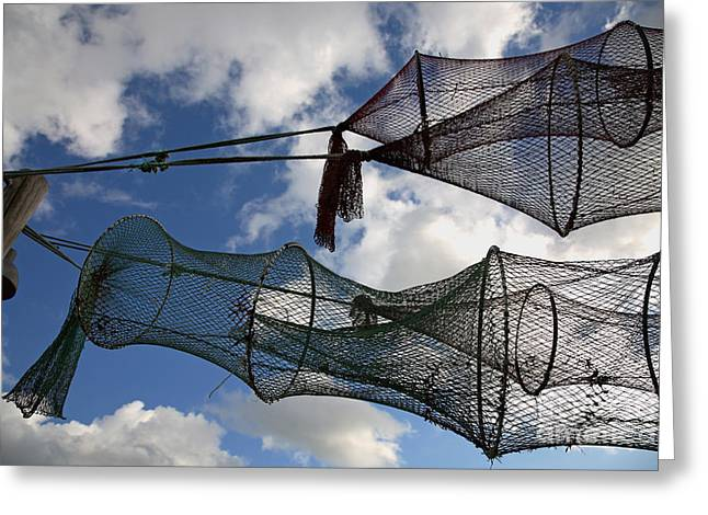 Entrap Greeting Cards - Drying fishing trap nets on poles Greeting Card by Niels Quist