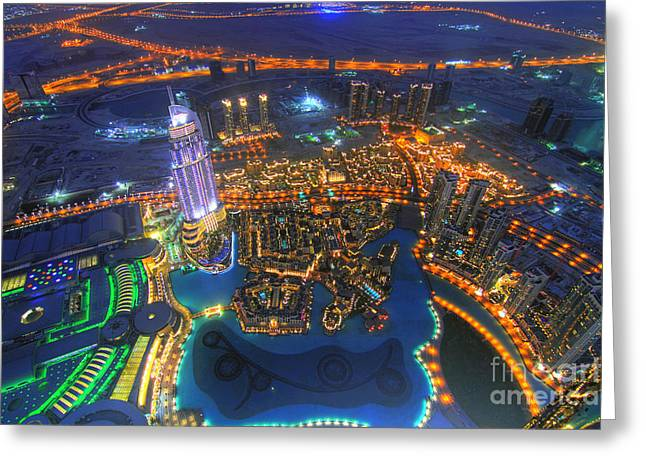 Areal Greeting Cards - Dubai at Night Greeting Card by Lars Ruecker