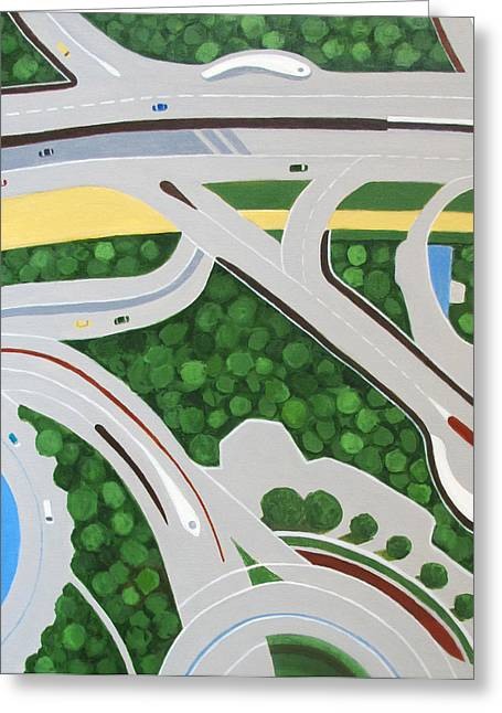 High Up Greeting Cards - Dubai Roadways Greeting Card by Toni Silber-Delerive
